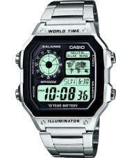 Casio AE-1200WHD-1AVEF Collection World Time Silver Steel Watch