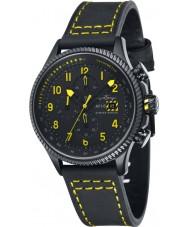 AVI-8 AV-4036-01 Mens Hawker Hunter Black Chronograph Watch with Extra Yellow Nylon Strap