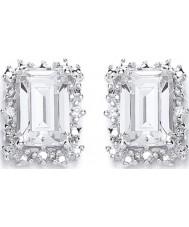 Purity 925 P1478ES-1 Ladies 925 Sterling Silver Oblong Cluster Stud Earrings