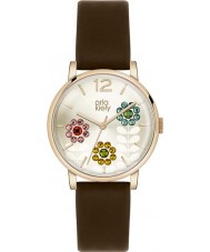 Orla Kiely OK2088 Ladies Betty Swarovski Flowery Set Dark Brown Leather Strap Watch