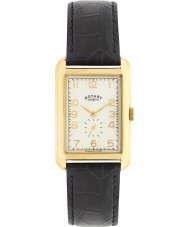 Rotary GS02698-03 Mens Timepieces Portland Gold Black Leather Strap Watch