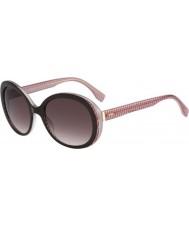 Fendi Micrologo FF 0001-S 7PH K8 Brown Burgundy Sunglasses