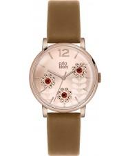 Orla Kiely OK2090 Ladies Betty Swarovski Flowery Set Tan Leather Strap Watch