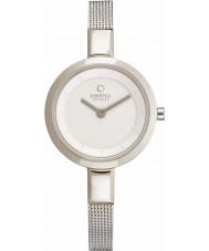 Obaku V129LXCIMC Ladies White Skinny Silver Tone Mesh Bracelet Watch