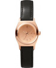 Nixon A509-1932 Ladies Small Time Teller Leather All Rose Gold Black Watch