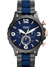 Fossil JR1494 Mens Nate Chronograph Black IP Navy Watch