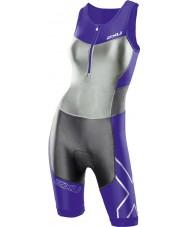 2XU WT2701D-PH-CHC-S Ladies G2 Purple Hue and Charcoal Compression Trisuit - Size S