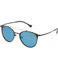Police Mens Rival 9 SPL156-599B Matt Black Mirrored Blue Sunglasses