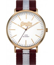 Superdry SYG183VE Oxford Purple  and Grey Stripes Mixed Strap Watch