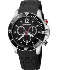 Wenger 01-0643-108 Mens Seaforce Black Silicone Chronograph Watch
