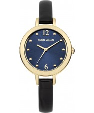 Karen Millen KM152UGA Ladies Navy Ice Crock Pattern Leather Strap Watch