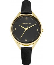 Karen Millen KM130BG Ladies Black Leather Strap Watch