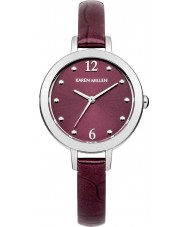 Karen Millen KM152VA Ladies Violet Ice Crock Pattern Leather Strap Watch