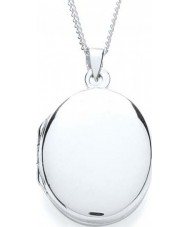 Purity 925 PUR0879-2 Ladies Locket Plain Oval Silver Necklace