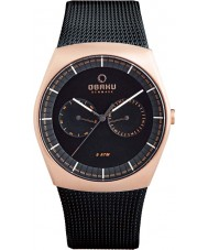 Obaku V176GMVBMB Mens Black Steel Mesh Bracelet Watch