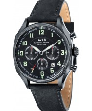 AVI-8 AV-4025-03 Mens Supermarine Seafire Black Leather Strap Chronograph Watch