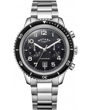 Rotary GB05021-04 Mens Timepieces Ocean Avenger Chrono Black Steel Watch