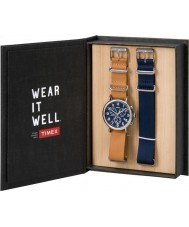 Timex TWG012800 Mens Weekender Tan Leather and Spare Blue Nylon Chronograph Watch Gift Set