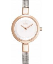 Obaku V129LXGIMC Ladies Gold Plated Skinny Silver Tone Mesh Bracelet Watch