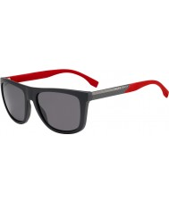 HUGO BOSS Mens BOSS 0834-S HWS 3H Dark Grey Red Polarized Sunglasses