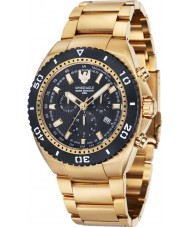 Swiss Eagle SE-9072-44 Men Carrier 316L Marine Grade Steel Gold Plated Chronograph Watch