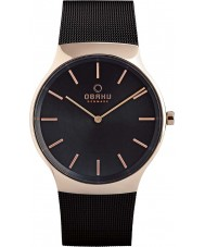 Obaku V178GXVBMB Mens Black Steel Mesh Bracelet Watch