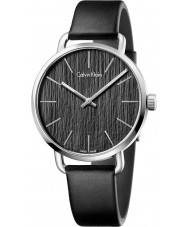 Calvin Klein K7B211C1 Mens Even Black Leather Strap Watch