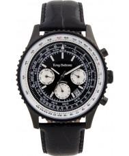 Krug Baümen 600201KM Mens Air Traveller Black Leather Strap Watch