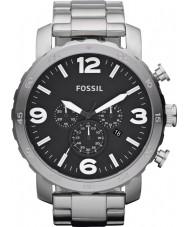 Fossil JR1353 Mens Nate Chronograph Black Steel Watch