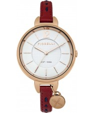 Fiorelli FO004RRG Ladies Red Skinny Leather Strap Watch with Kiss Logo Charm