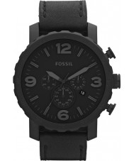 Fossil JR1354 Mens Nate Black Leather Chronograph Watch