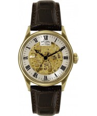 Rotary GS02941-03 Mens Timepieces Gold Plated Brown Skeleton Mechanical Watch
