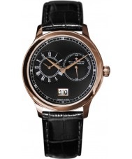 Dreyfuss and Co DGS00122-04 Mens Dual Time Watch With Black Croco Grain Strap