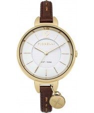 Fiorelli FO004TG Ladies Brown Skinny Leather Strap Watch with Kiss Logo Charm