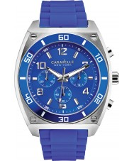 Caravelle New York 45A115 Mens Clark Blue Rubber Chronograph Watch