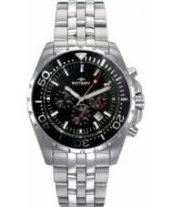 Rotary AGB00013-C-04 Mens Aquaspeed Black Steel Chronograph Watch