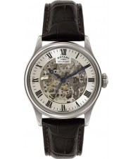 Rotary GS02940-06 Mens Timepieces Silver Black Skeleton Mechanical Watch