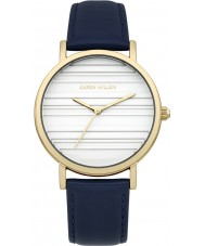 Karen Millen KM154UGA Ladies Dark Navy Leather Strap Watch