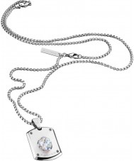 Police 25552PSS-01 Mens Crystal Head Silver Steel Necklace with Swarovski Crystal