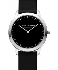 Lars Larsen 135SBBL Rene Steel Black Leather Strap Watch