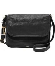 Fossil ZB6919001 Ladies Peyton Black Large Double Flap Bag