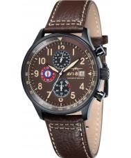AVI-8 AV-4011-07 Mens Hawker Hurricane Brown Leather Strap Chronograph Watch