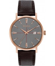 Bulova 97B154 Mens Aerojet Dark Brown Leather Strap Watch