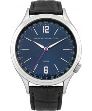 French Connection FC1195UB Mens Blue and Black Leather Strap Watch