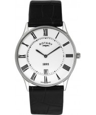 Rotary GS08200-01 Mens Ultra Slim White Black Watch