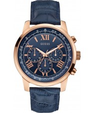 Guess W0380G5 Mens Horizon Blue Leather Chronograph Watch
