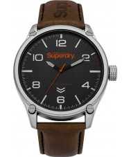 Superdry SYG200BBR Military Dark Brown Leather Strap Watch
