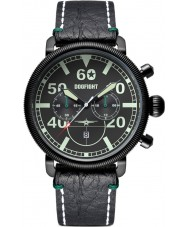 Dogfight DF0011 Mens Ace Black Leather Chronograph Watch
