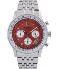 Krug-Baumen 400305DS Air Traveller Red Dial Stainless Steel Strap
