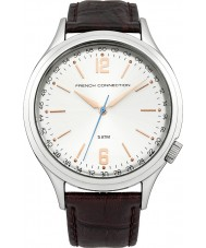 French Connection FC1195T Mens Silver and Brown Leather Strap Watch